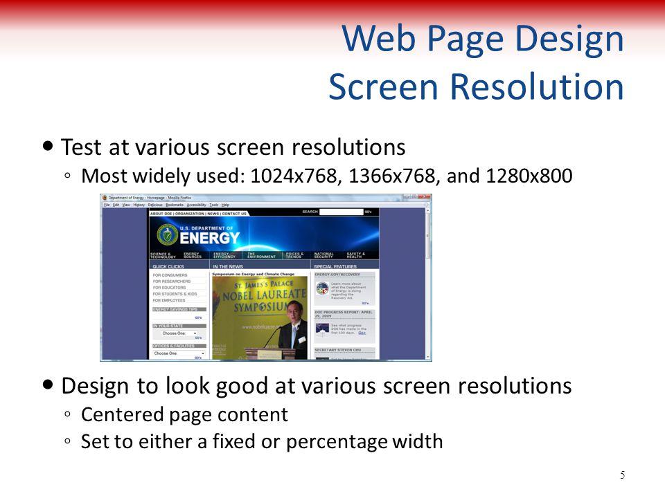 Web Page Design Screen Resolution