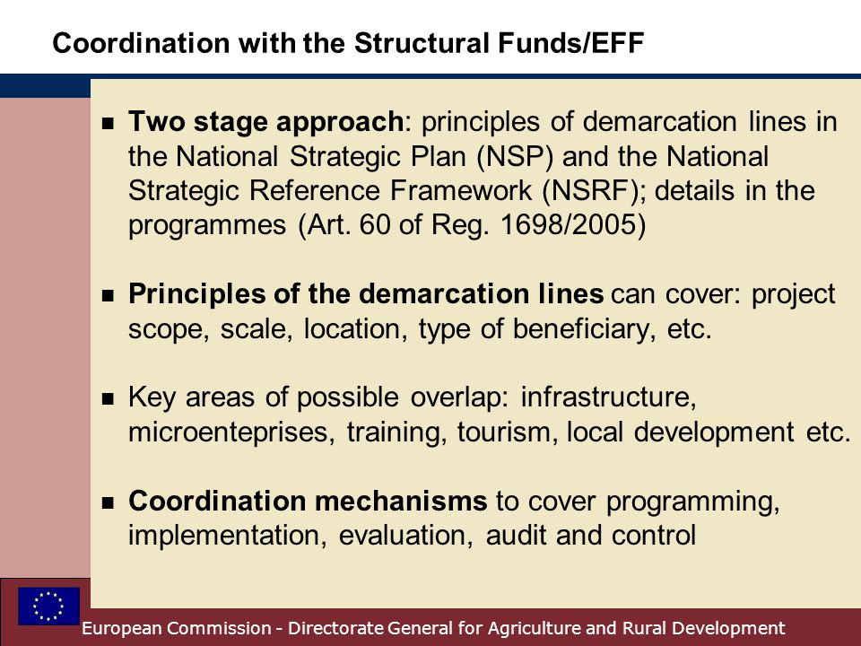 Coordination with the Structural Funds/EFF