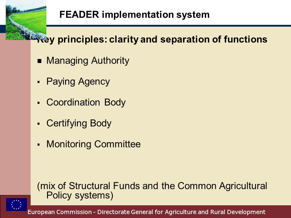 FEADER implementation system