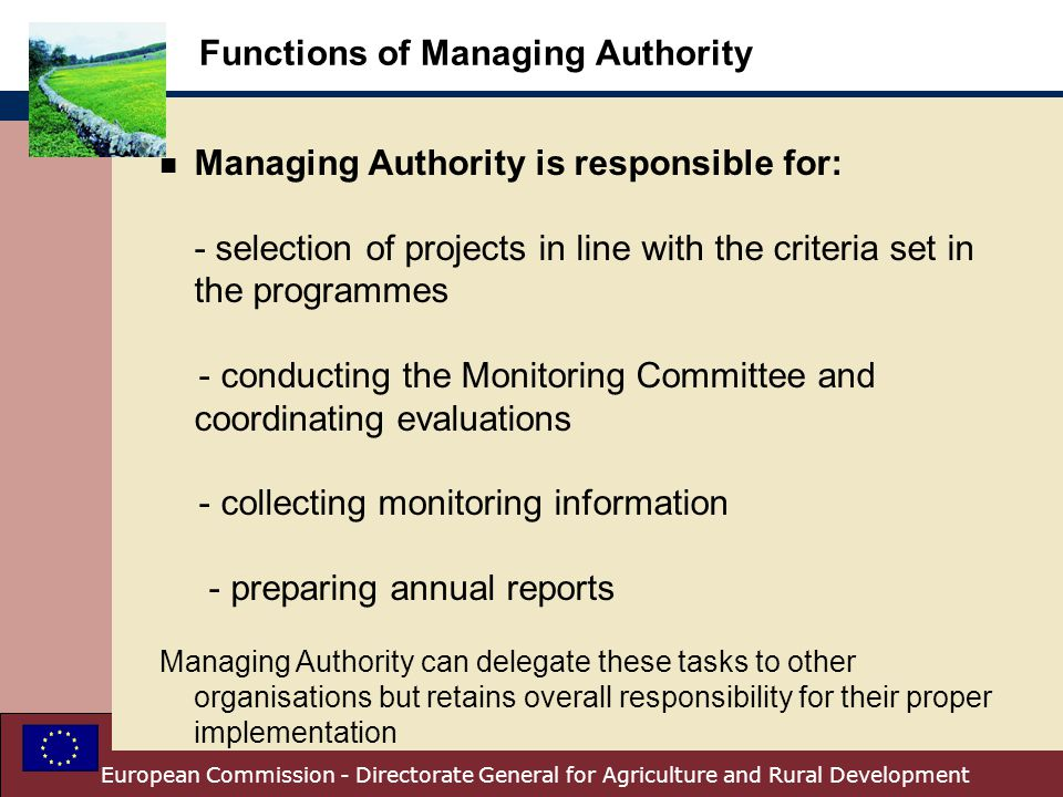 Functions of Managing Authority