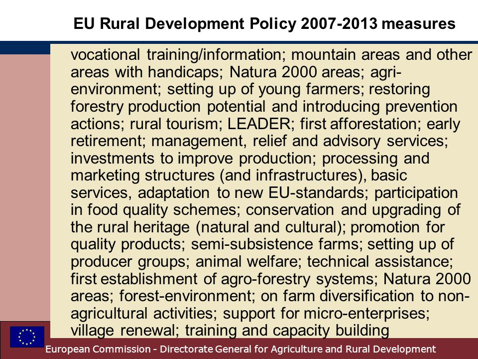 EU Rural Development Policy measures