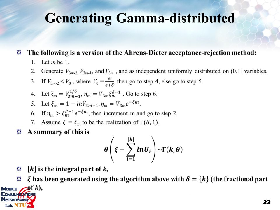 Generating Gamma-distributed
