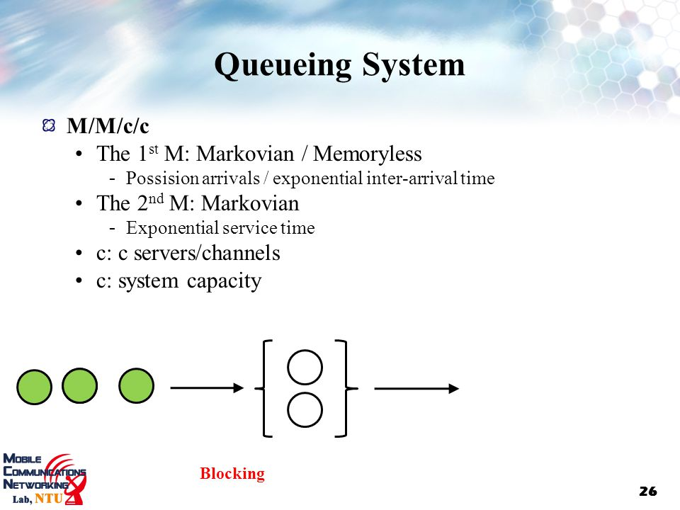 Queueing System M/M/c/c The 1st M: Markovian / Memoryless