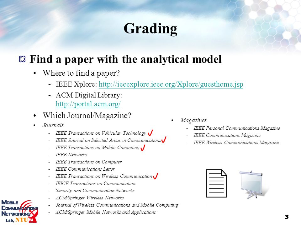 Grading Find a paper with the analytical model Where to find a paper