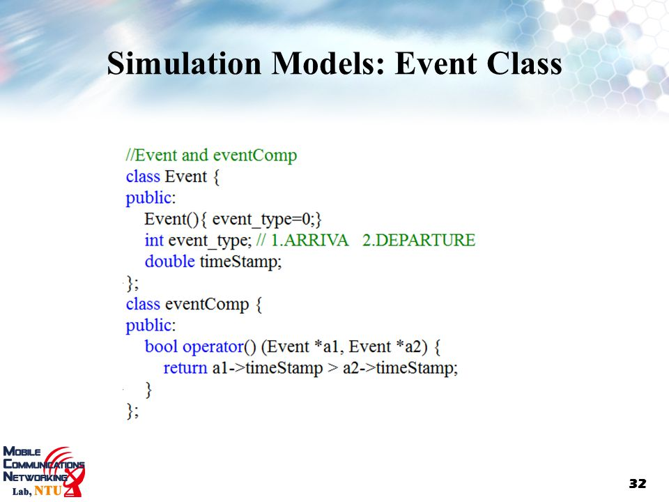 Simulation Models: Event Class