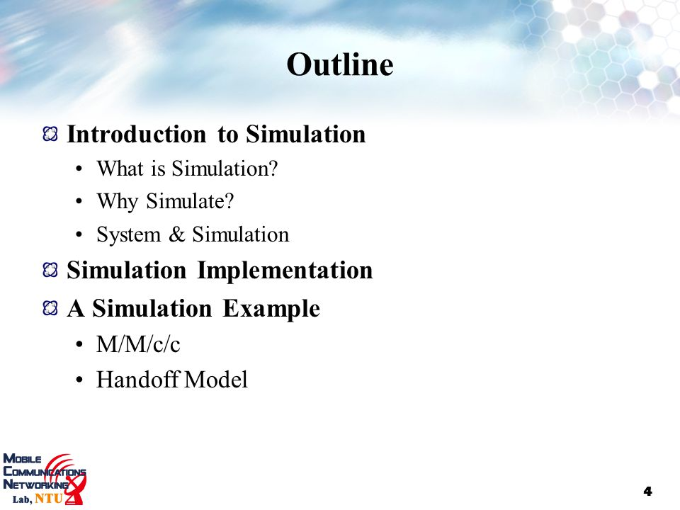 Outline Introduction to Simulation Simulation Implementation