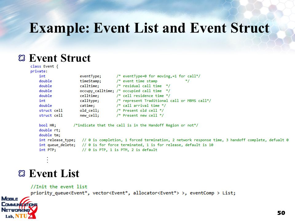 Example: Event List and Event Struct