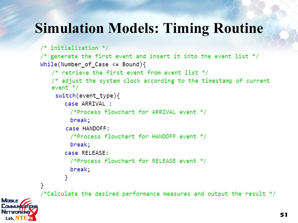 Simulation Models: Timing Routine