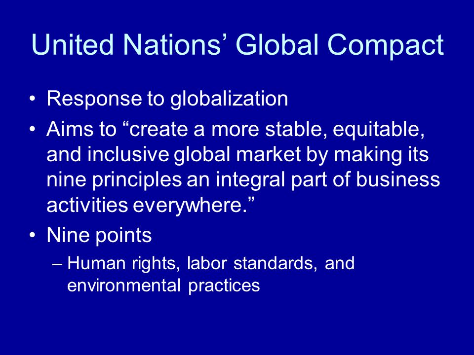 the united nations global compact business essay The global compact asks  introduction to corporate social responsibility  concerns through a united nations perspective and from.