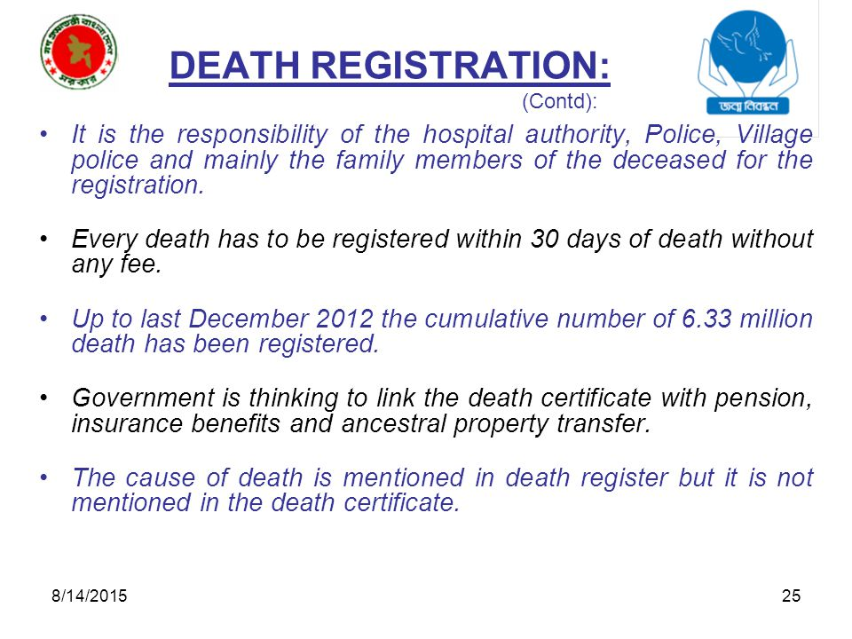 Birth and death registration in bangladesh ppt video online 25 death yadclub Images
