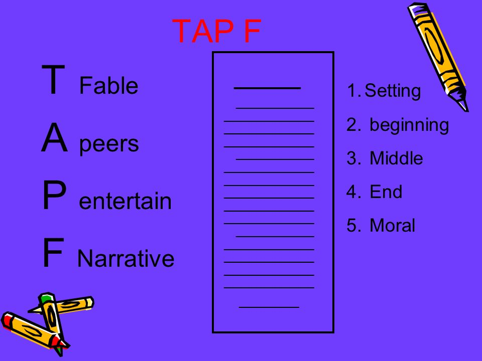 T Fable A peers P entertain F Narrative TAP F ____ Setting beginning