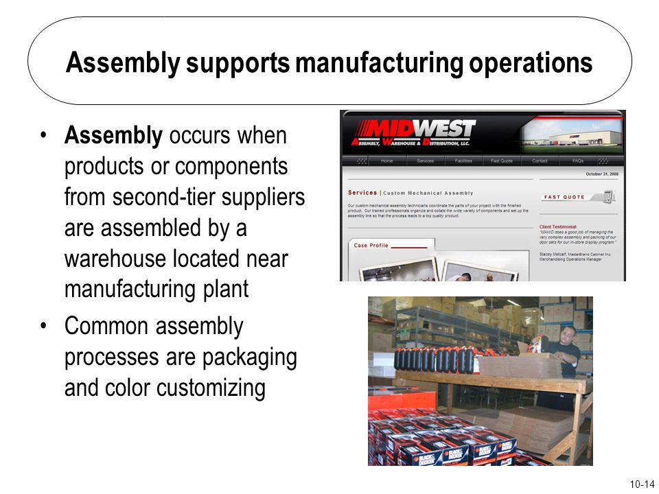 Assembly supports manufacturing operations