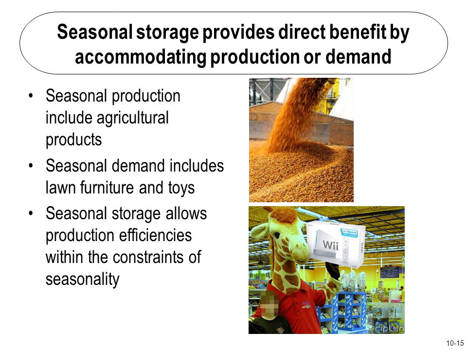 Seasonal storage provides direct benefit by accommodating production or demand