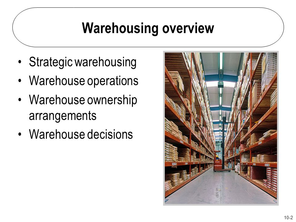 Warehousing overview Strategic warehousing Warehouse operations