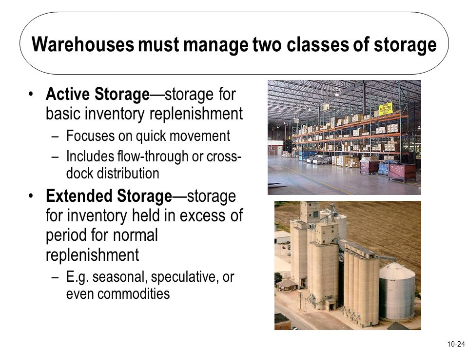 Warehouses must manage two classes of storage
