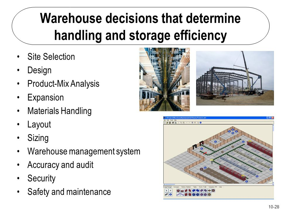 Warehouse decisions that determine handling and storage efficiency