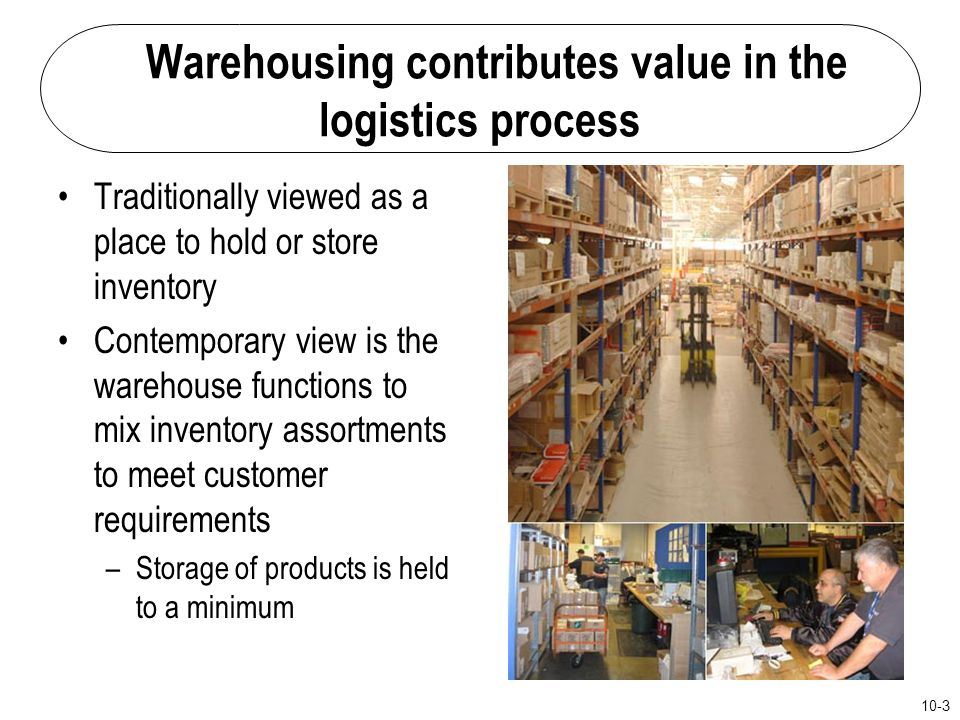 Warehousing contributes value in the logistics process