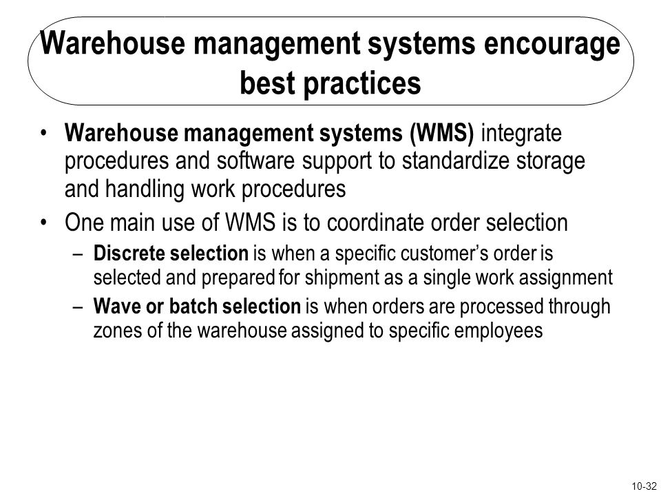 Warehouse management systems encourage best practices