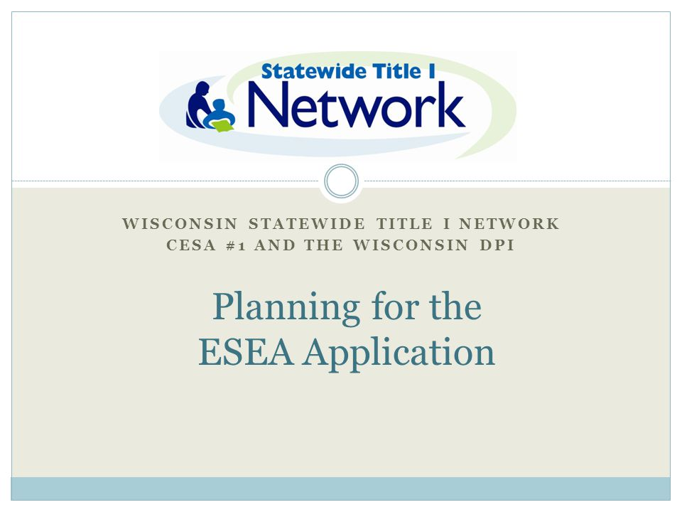 Wisconsin Statewide Title I Network CESA #1 and the Wisconsin DPI