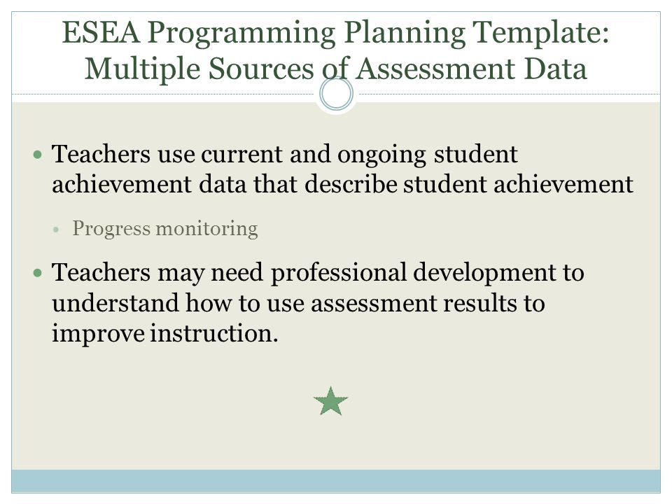 ESEA Programming Planning Template: Multiple Sources of Assessment Data