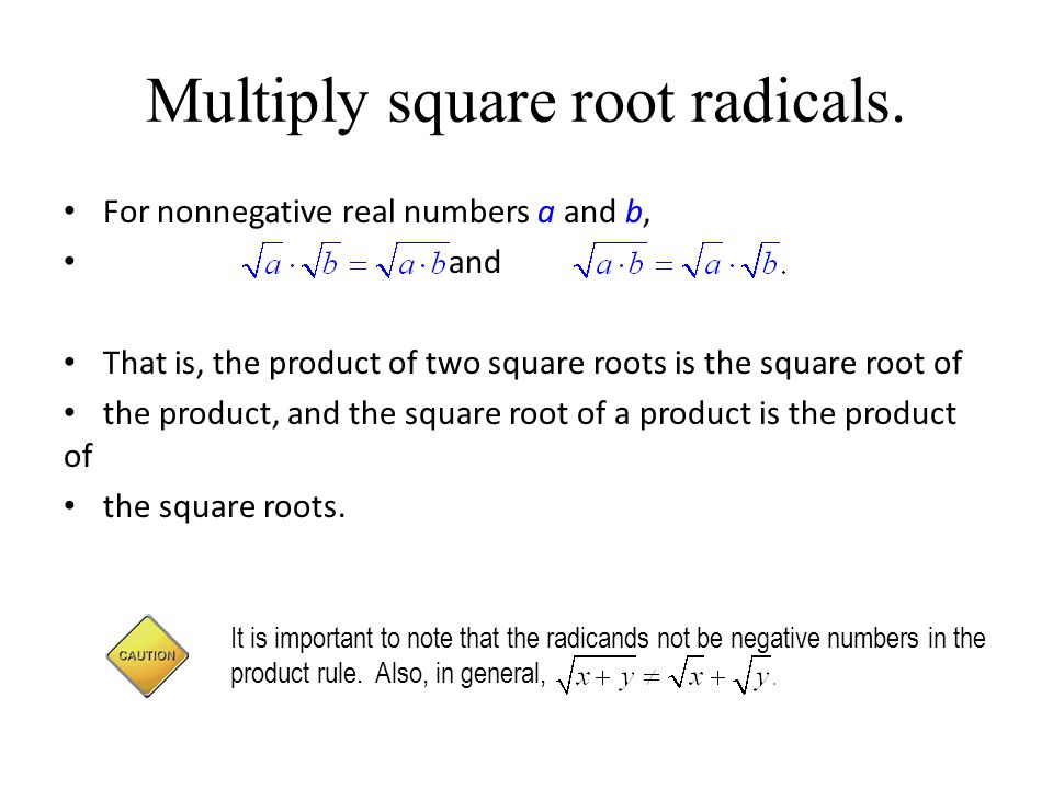 Multiply square root radicals.