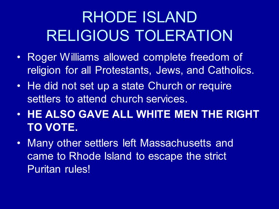 Religious Toleration In Rhode Island Colony