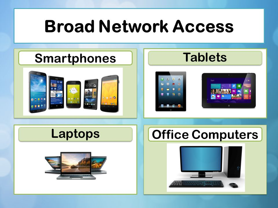 Broad Network Access Tablets Smartphones Laptops Office Computers