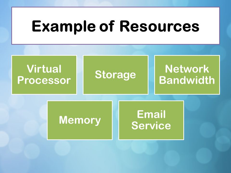 Example of Resources Virtual Processor Storage Network Bandwidth