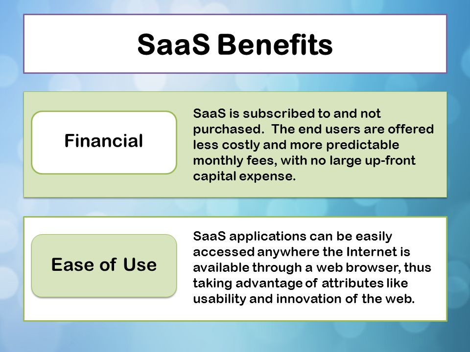 SaaS Benefits Financial Ease of Use