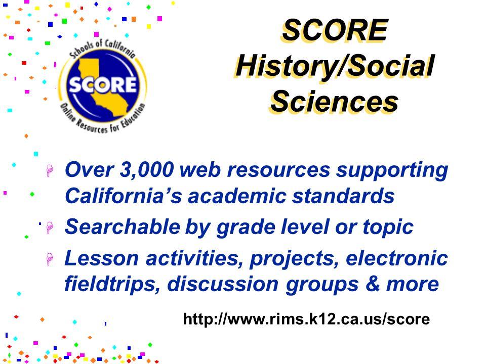 SCORE History/Social Sciences