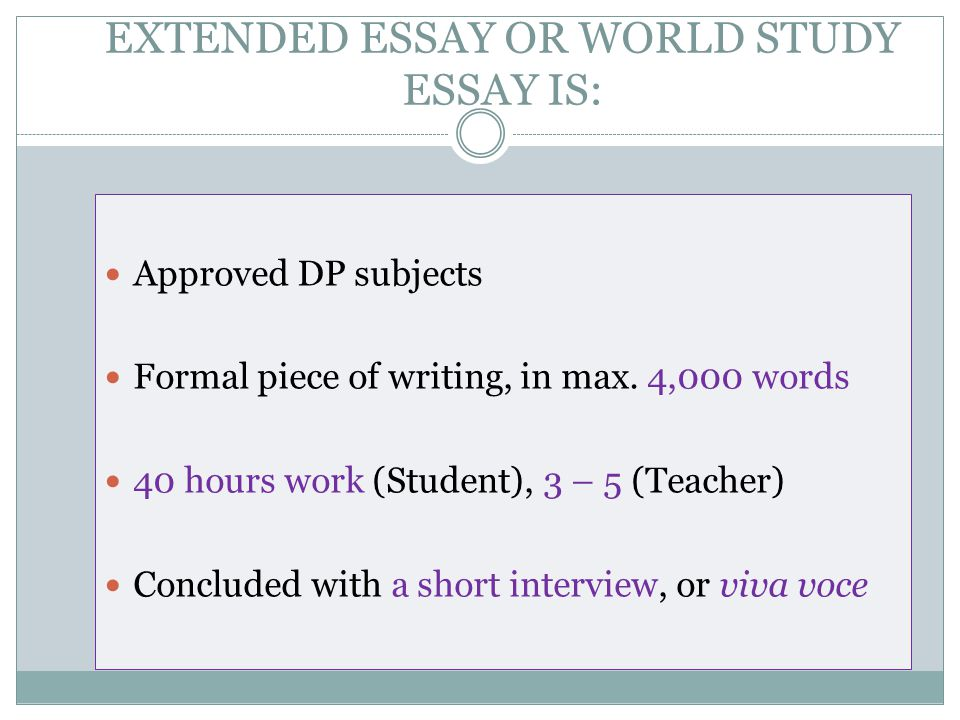 world studies extended essay guide Free essay: extended essay guide business  ib math studies ia  program is indeed an international program that involves schools all around the world.