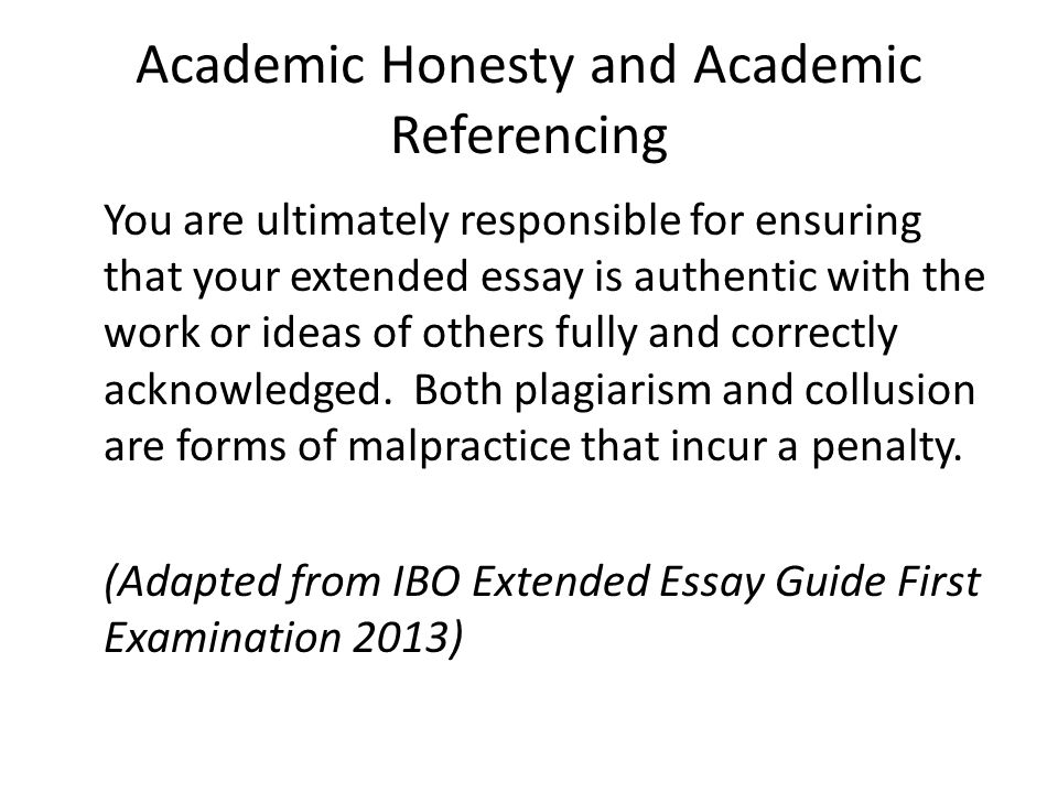 extended essay ppt video online  academic honesty and academic referencing