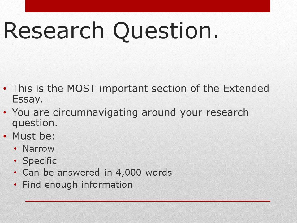 extended essay citation format Each extended essay must have a research question the research question is the central question you are trying to answer through your research and writing of the extended essay this question, if properly composed, will enable you to maintain your focus on a topic of narrow and limited scope while also help you to maintain the purpose and.