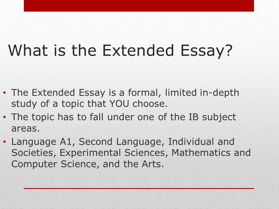International Baccalaureate/Extended Essay Tips