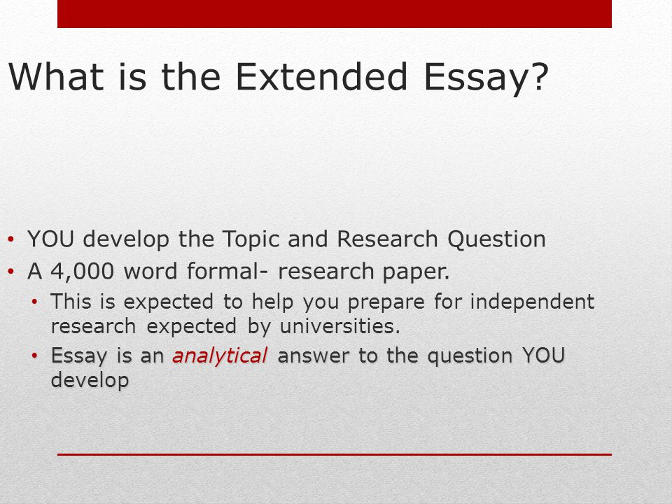 formal layout of extended essay The extended essay the introduction, conclusion and abstract tips on writing: the introduction why the topic is important, interesting and worthy of study in the subject.