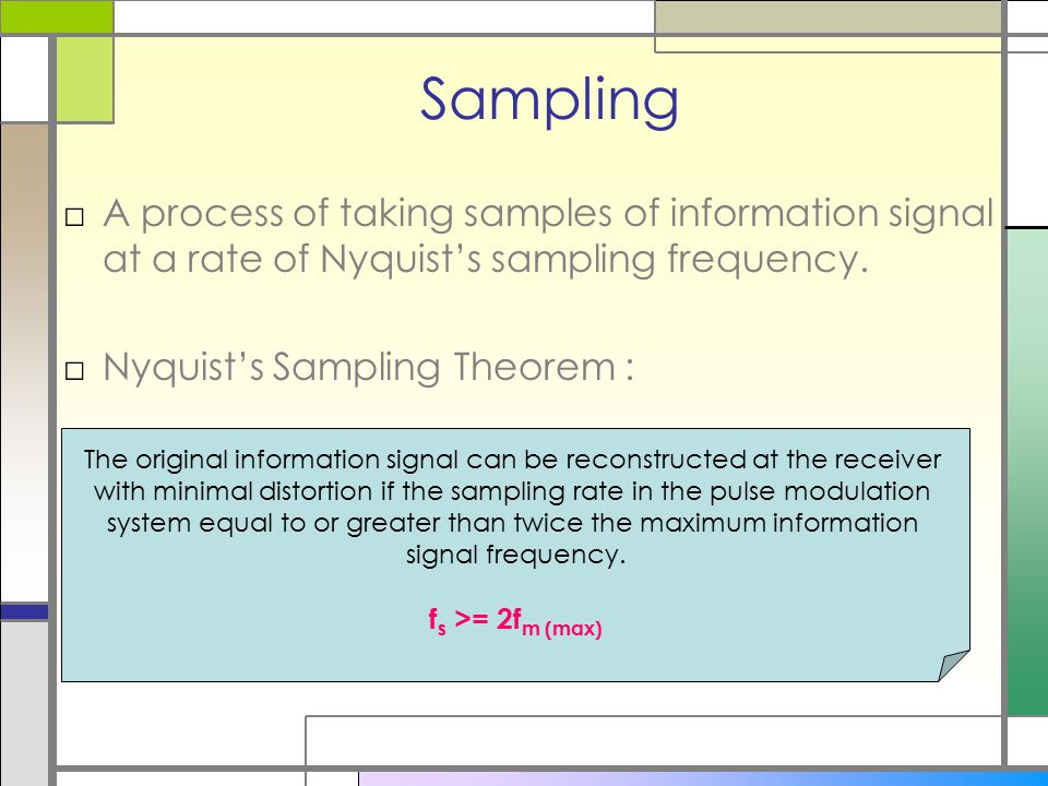 Sampling A process of taking samples of information signal at a rate of Nyquist's sampling frequency.