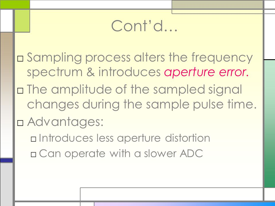 Cont'd… Sampling process alters the frequency spectrum & introduces aperture error.
