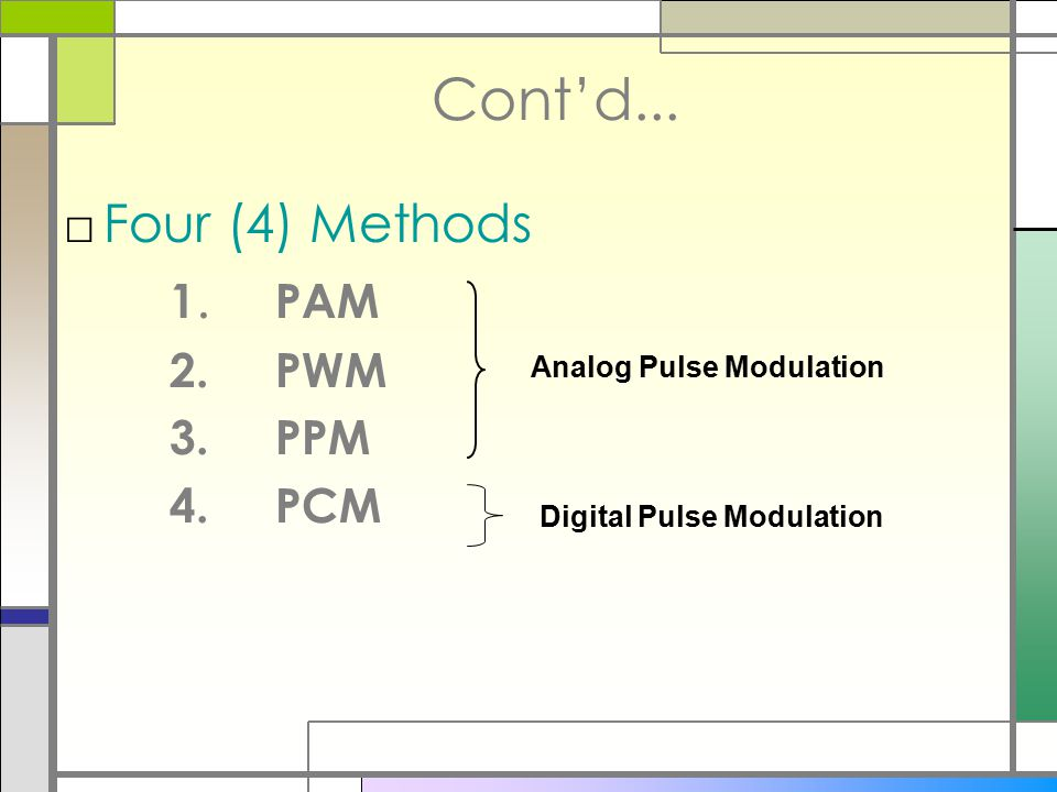 Cont'd... Four (4) Methods 1. PAM 2. PWM 3. PPM 4. PCM