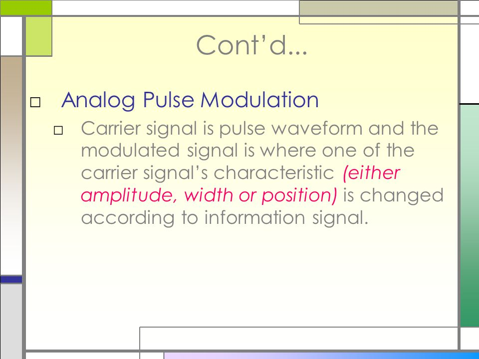 Cont'd... Analog Pulse Modulation