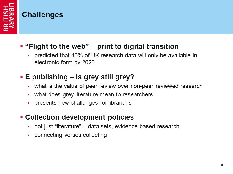 Challenges Flight to the web – print to digital transition