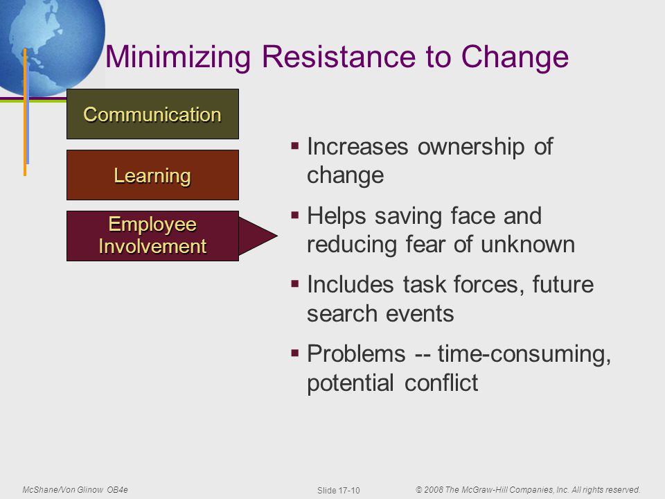 the resistance to change Resistance, and (4) practical suggestions for overcoming resistance the toughest challenge of organizational leaders today is to manage at the speed of change.