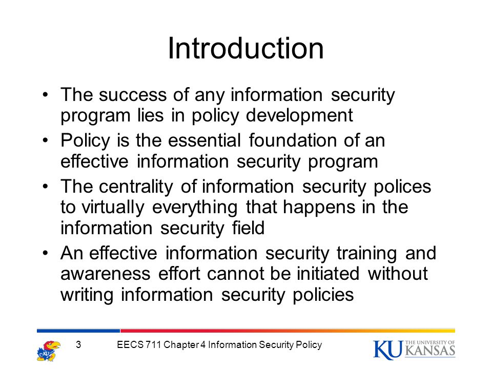security policies essay Free essay: establishing an effective information technology security policy  framework is critical in the development of a comprehensive security program.