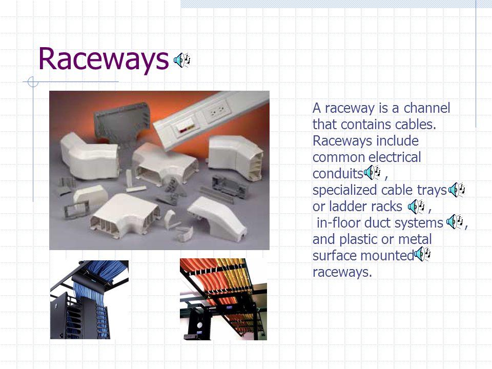 Raceways A raceway is a channel that contains cables.
