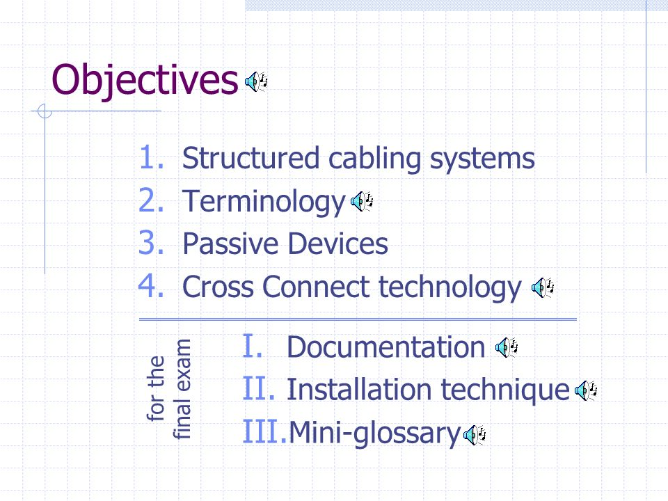 Objectives Structured cabling systems Terminology Passive Devices