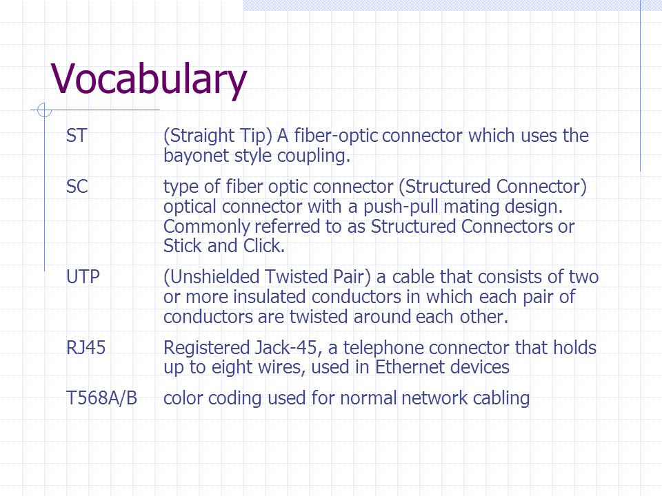 Vocabulary ST (Straight Tip) A fiber-optic connector which uses the bayonet style coupling.
