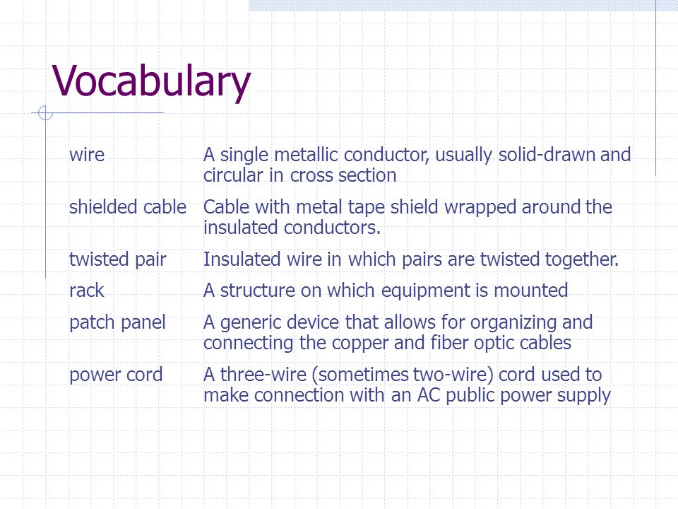 Vocabulary wire A single metallic conductor, usually solid-drawn and circular in cross section.
