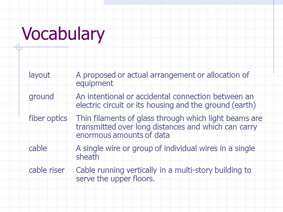 Vocabulary layout A proposed or actual arrangement or allocation of equipment.