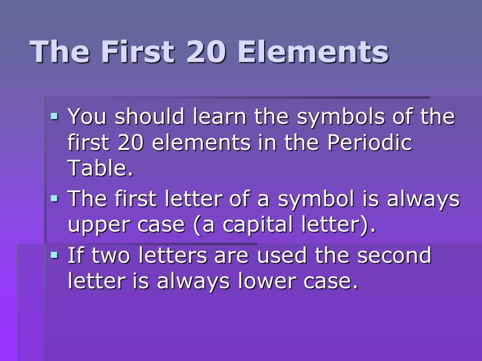 the first 20 elements you should learn the symbols of the first 20 elements in the - Periodic Table First 20 Elements Atomic Number