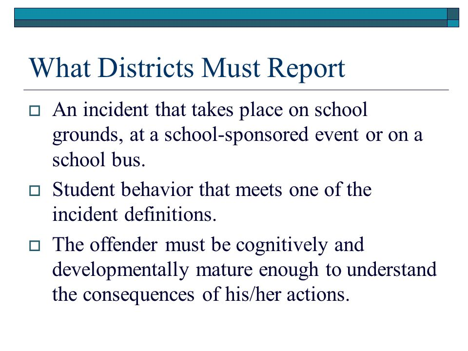 What Districts Must Report