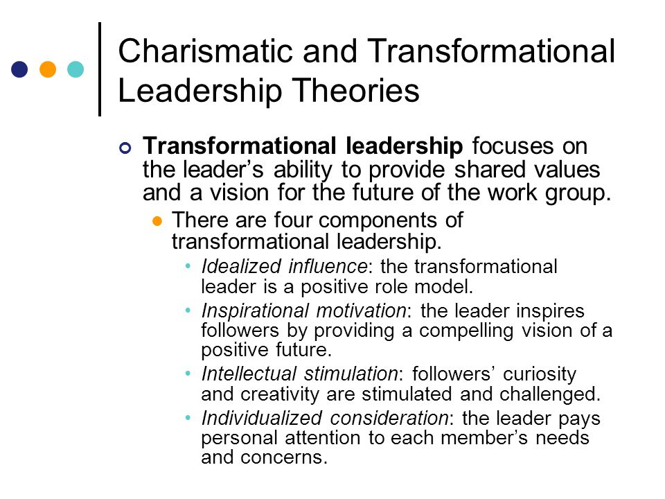 the transformational leadership model analysis Transformational leadership -the key to successful management of transformational organizational changes individualized consideration, as a feature of a transformational leader, is reduced to the ability of individual analysis of followers.